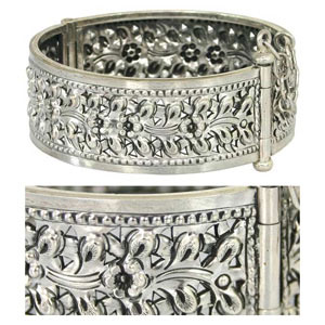Sterling silver cuff bracelet, 'Floral Magnificence'