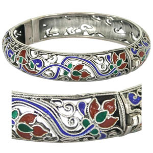 Sterling silver bangle, 'Lotus Bouquet'