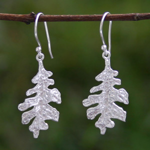 Sterling silver dangle earrings, 'Shiny Leaves'