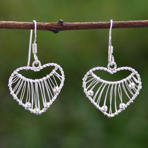 Sterling silver dangle earrings, 'Heart Drops'