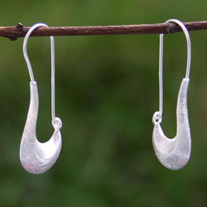Sterling silver dangle earrings, 'Crescent Moon'