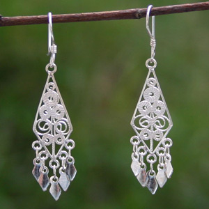Sterling silver dangle earrings, 'Classic Elegance'