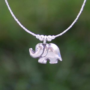 Sterling silver necklace, 'Elephant Greeting'
