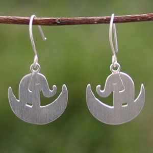 Sterling silver dangle earrings, 'Elephant Dream'