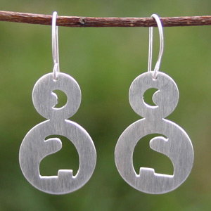 Sterling silver dangle earrings, 'Moon Serenade'
