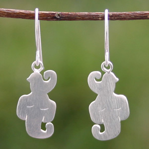 Sterling silver dangle earrings, 'Forest Hang-out'
