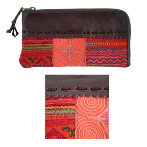 Leather and cotton wallet, 'Sun Celebration'