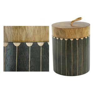 Mango wood lidded box, 'Fountains'
