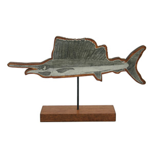 Mango wood statuette, 'Flying Swordfish'