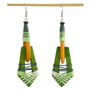 Kapok wood earrings, 'Verdant Prairie'