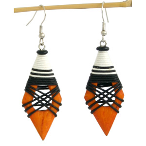 Kapok wood earrings, 'Orange Goddess'
