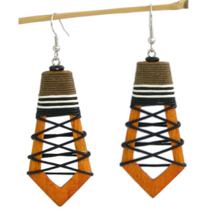 Kapok wood earrings, 'Orange Peel'