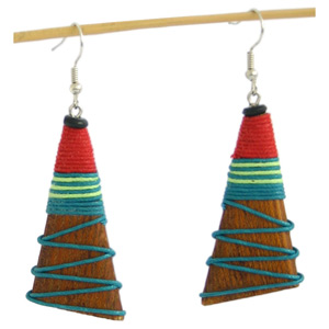 Kapok wood earrings, 'Red Summits'