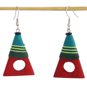 Kapop wood earrings, 'Time Windows'