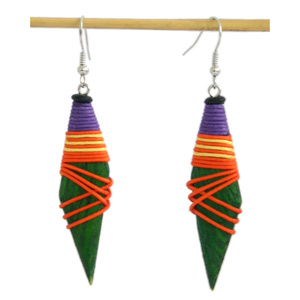 Kapok wood earrings, 'Joyful Magic'