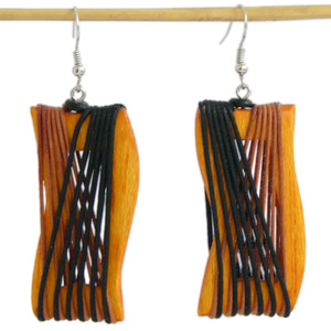 Kapok wood earrings, 'Evening Dress'