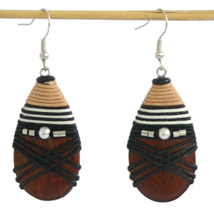 Kapok wood earrings, 'Wooden Drops'