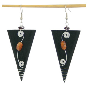 Carnelian and wood earrings, 'Triangle Elegance'