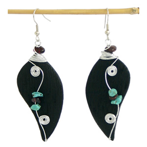 Garnet and wood dangle earrings, 'Musical Harmony'