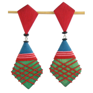 Kapok wood clip-on earrings, 'Happy Day'