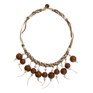 Kapok wood pendant necklace, 'Brown Orbs'
