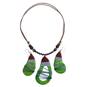 Kapok wood jewelry set, 'Green Dolmens'