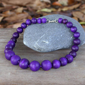 Kapok wood necklace, 'Purple Bubbles'