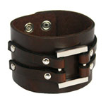 Leather bracelet, 'Brown Skylight'