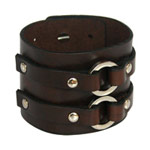 Leather bracelet, 'Brown Rider'