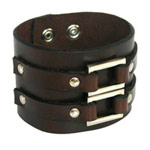 Leather bracelet, 'Elegant Twins'