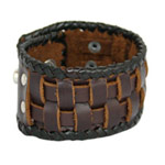 Leather bracelet, 'Shield'