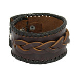 Leather bracelet, 'Chocolate Weave'