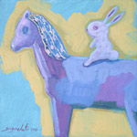 Acrylic on canvas, 'Horse and Rabbit'