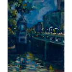 Oil on canvas, 'Nawarat Bridge Night'