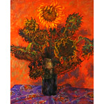 Oil on canvas, 'Sunflowers in a Vase'