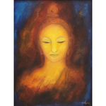 Oil on canvas, 'Buddha Face 1'