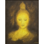 Oil on canvas, 'Buddha Face 5'
