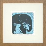 Linocut print, 'Forest Stories'