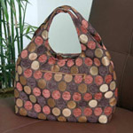 Cotton shoulder bag, 'Bubbling Chocolate' (Arch)