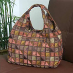 Cotton shoulder bag, 'Chocolate Cubism' (Arch)
