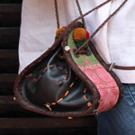 Leather and cotton shoulder bag, 'Hill-Tribe Flower'