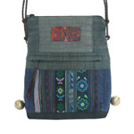 Leather and cotton shoulder bag, 'Rainy Season'