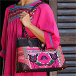Leather and cotton shoulder bag, 'Pink Poppy'