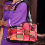 Leather and cotton shoulder bag, 'Tribal Patchwork'