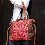 Leather and cotton shoulder bag, 'Magnificence'
