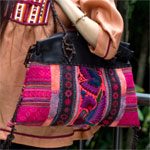 Leather and cotton shoulder bag, 'Ethnic Vibrancy'