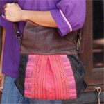 Leather and cotton shoulder bag, 'Ethnic Style'