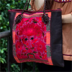 Leather and cotton shoulder bag, 'Heaven Garden'