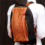 Leather and cotton backpack, 'Forest Magic'