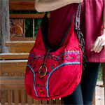 Leather and cotton shoulder bag, 'Red Mystery'